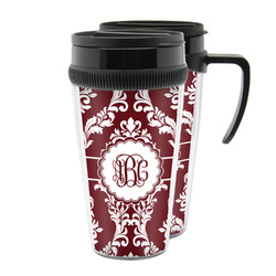 Maroon & White Acrylic Travel Mugs (Personalized)