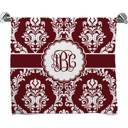 Maroon & White Full Print Bath Towel (Personalized)