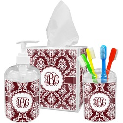 Maroon & White Bathroom Accessories Set (Personalized)