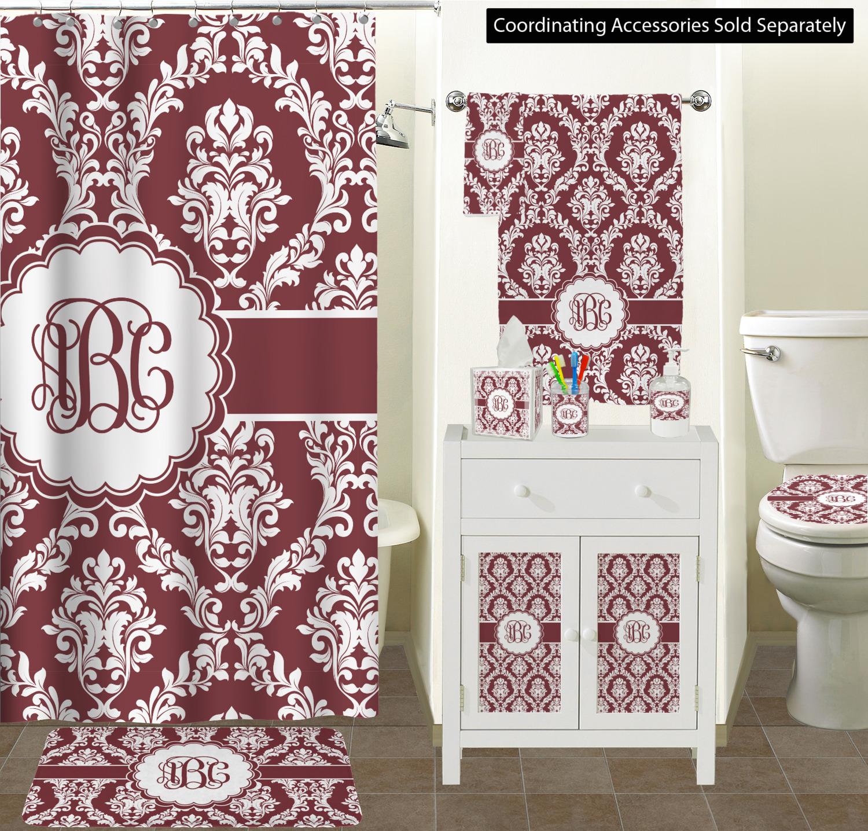 Maroon White Ceramic Bathroom Accessories Scene