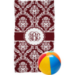 Maroon & White Beach Towel (Personalized)