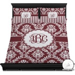 Maroon & White Duvet Covers (Personalized)