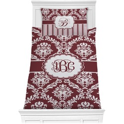 Maroon & White Comforter Set - Twin XL (Personalized)