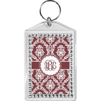Maroon & White Bling Keychain (Personalized)