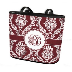 Maroon & White Bucket Tote w/ Genuine Leather Trim (Personalized)