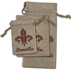 Maroon & White Burlap Gift Bags (Personalized)