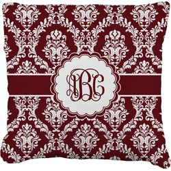 Maroon & White Faux-Linen Throw Pillow (Personalized)