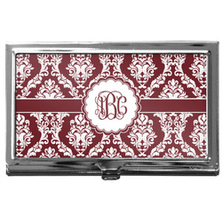 Maroon & White Business Card Case