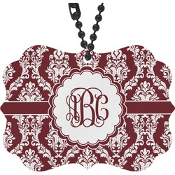 Maroon & White Rear View Mirror Charm (Personalized)