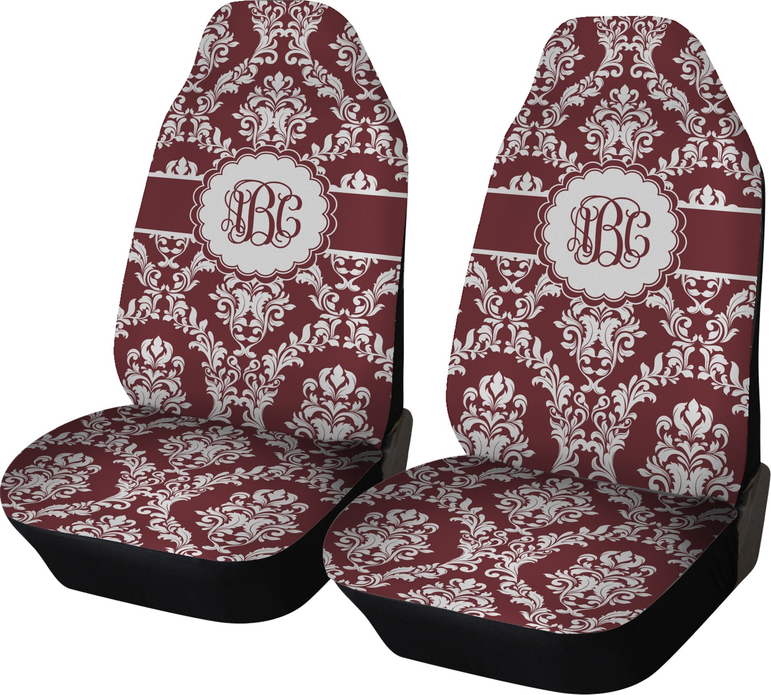 Maroon White Car Seat Covers Set Of Two Personalized