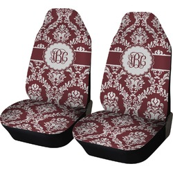 Maroon & White Car Seat Covers (Set of Two) (Personalized)