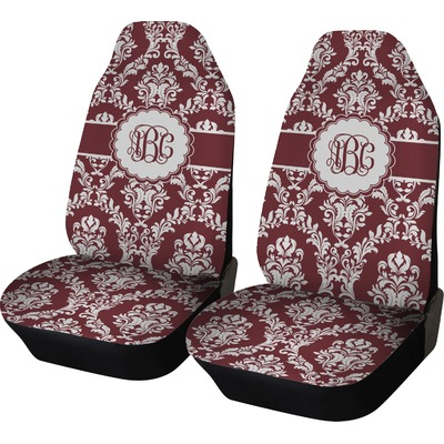 Maroon Amp White Car Seat Covers Set Of Two Personalized