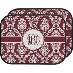 Maroon & White Car Floor Mats (Back Seat) (Personalized)