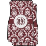 Maroon & White Car Floor Mats (Front Seat) (Personalized)