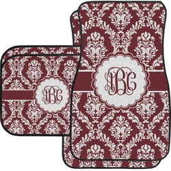 Maroon & White Car Floor Mats (Personalized)