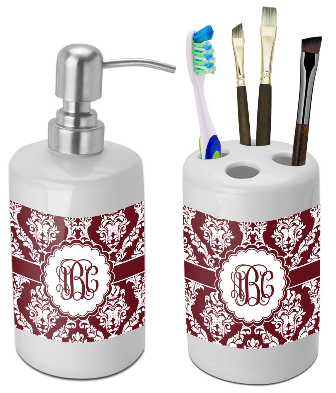 Maroon & White Bathroom Accessories Set (Ceramic) (Personalized ...