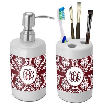 Maroon White Bathroom Accessories Set Ceramic Personalized You Cu
