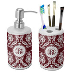 Maroon & White Bathroom Accessories Set (Ceramic) (Personalized)