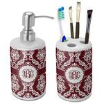 Maroon & White Bathroom Accessories Set (Ceramic) (Personalized)