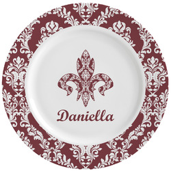 Maroon & White Ceramic Dinner Plates (Set of 4) (Personalized)
