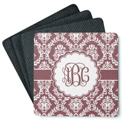 Maroon & White 4 Square Coasters - Rubber Backed (Personalized)
