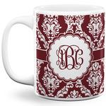 Maroon & White 11 Oz Coffee Mug - White (Personalized)