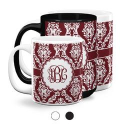 Maroon & White Coffee Mugs (Personalized)