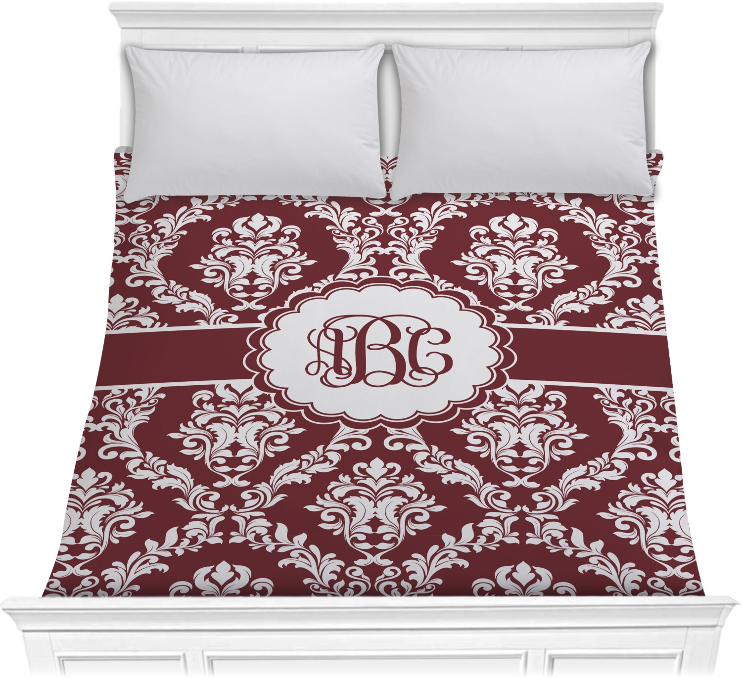 Maroon Amp White Comforter Full Queen Personalized