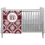 Maroon & White Crib Comforter / Quilt (Personalized)
