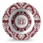 Maroon & White Plastic Bowl - Microwave Safe - Composite Polymer (Personalized)