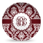 Maroon & White Microwave Safe Plastic Plate - Composite Polymer (Personalized)