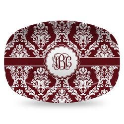 Maroon & White Plastic Platter - Microwave & Oven Safe Composite Polymer (Personalized)
