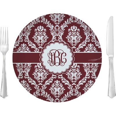 "Maroon & White 10"" Glass Lunch / Dinner Plates - Single or Set (Personalized)"