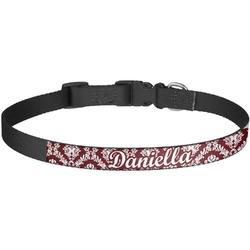 Maroon & White Dog Collar - Large (Personalized)