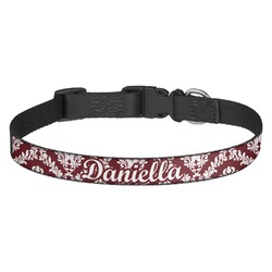 Maroon & White Dog Collar - Multiple Sizes (Personalized)