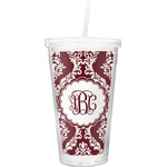 Maroon & White Double Wall Tumbler with Straw (Personalized)