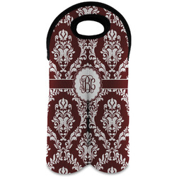 Maroon & White Wine Tote Bag (2 Bottles) (Personalized)