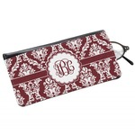 Maroon & White Genuine Leather Eyeglass Case (Personalized)