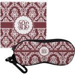 Maroon & White Eyeglass Case & Cloth (Personalized)