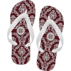 Maroon & White Flip Flops (Personalized)
