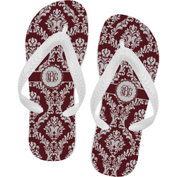Maroon & White Flip Flops (Personalized)