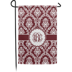 Maroon & White Single Sided Garden Flag With Pole (Personalized)
