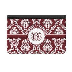 Maroon & White Genuine Leather ID & Card Wallet - Slim Style (Personalized)