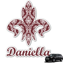 Maroon & White Graphic Car Decal (Personalized)
