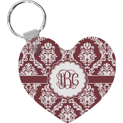 Maroon & White Heart Keychain (Personalized)