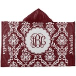 Maroon & White Kids Hooded Towel (Personalized)