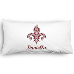 Maroon & White Pillow Case - King - Graphic (Personalized)
