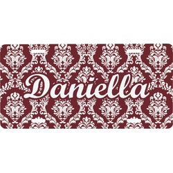 Maroon & White Front License Plate (Personalized)