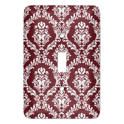 Maroon & White Light Switch Cover (Single Toggle) (Personalized)