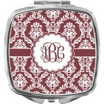 Maroon & White Compact Makeup Mirror (Personalized)